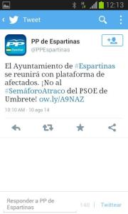 Opinión PP de Espartinas sobre semáforos de Umbrete y Bollullos. Imagen: captura en redes sociales.