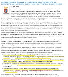 Comunicado Ayto. de Espartinas sobre situación viviendas abandonadas y habitas por familias en riesgo de exclusión social.